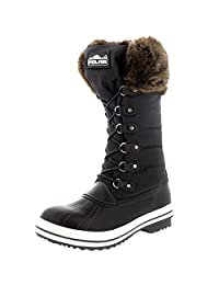 Womens Nylon Warm Side Zip Fur Duck Muck Lace Up Rain Winter Snow Boots - 6 - GRE37 YC0120