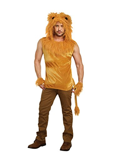 Ringmaster Mens Costume (Dreamgirl Men's King of The Jungle Lion Costume Shirt, Brown,)