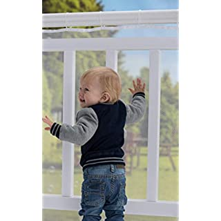 Roving Cove Deck Guard 10', Outdoor Balcony and Stairway Banister Safety Net, Baby Proofing Stairs Rail Screen Cover, Child Proof Patio Fence, Safe Rail, Outdoor 10ft L x 3ft H Pearl White