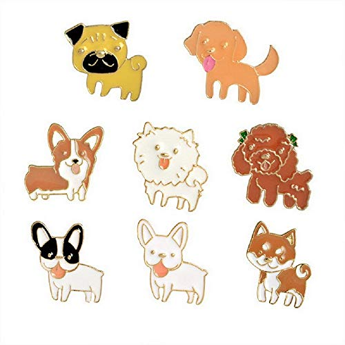 Dog Pin Set - MJartoria 6/7/8PCS Cute Pins for Backpack-Cartoon Earth Bike Little Girl Enamel Cool Brooch Pin Badges Set for Backpack Clothes Bags (Dogs-8PCS)
