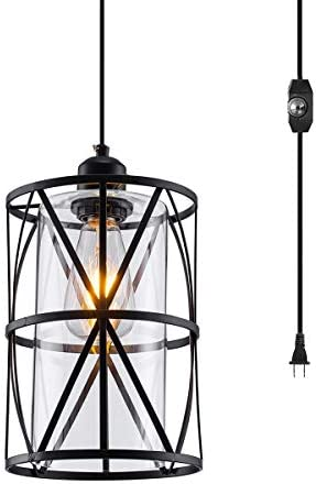 SHENGQINGTOP Black Industrial Metal Swag Light, Clear Glass Plug in Pendant Light with 16.4ft Cord and On Off Dimmer Switch, New Transitional Hanging Lighting Fixture for Kitchen Island Bedside Shop