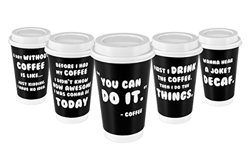 Premium 16oz Disposable Coffee Cups With Lids (50ct) - 5 Fun Quotes in Each Pack - Make Your Own Coffee or Tea With These Paper Coffee Cups - Insulated Double Wall - No Need For Sleeves