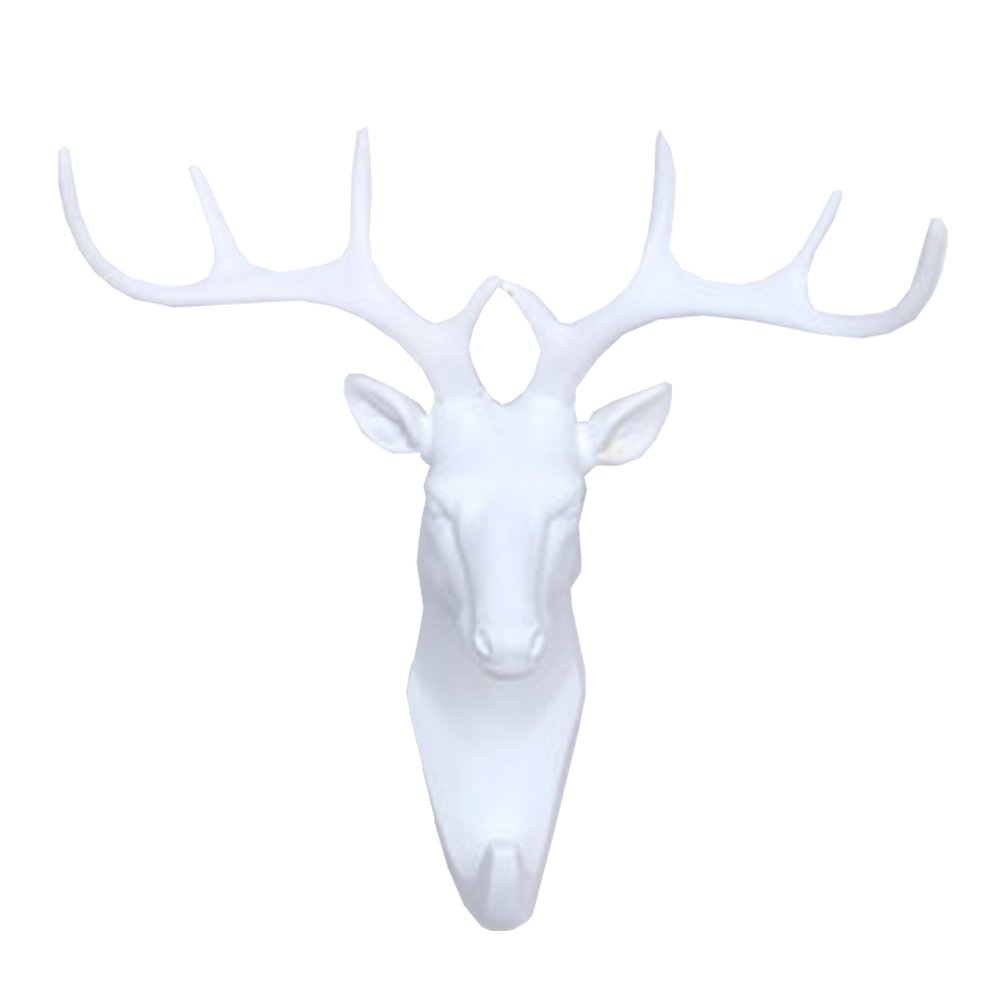 Lanburch Creative Utility Wall Hook Bathroom Hook Towel Hook Animal shaped Deer White