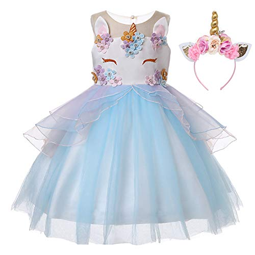 Kids Girls Flower Tulle Birthday Unicorn Toddler Mythical Costume Cosplay Baby Girl Pageant Tutu Princess Dress up Teen Cute Unicorn Headband Party Gown Outfits 3-4 Years (Blue & Headband, -