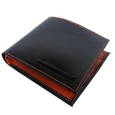 f1424b1a19c7 ZARIO ZA-1100 馬革 牛革 折財布 【ブラック×ブラウン】