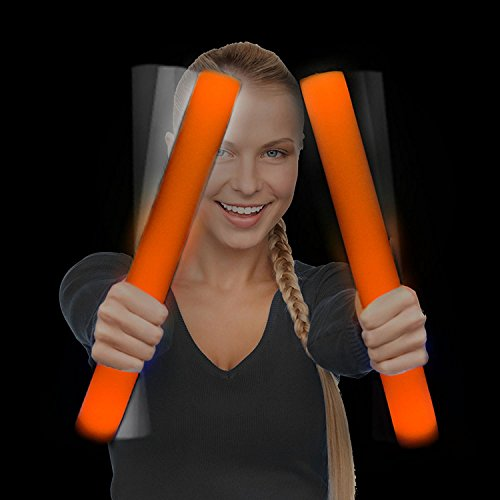 Fun Central AQ075, 6 Pcs 16 Inches Orange LED Foam Stick Baton, LED Light Sticks, Party Lights Toys, LED Party Pack, Foam Party Sticks, Concert Light Sticks, Rave Party ()