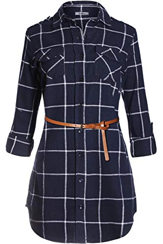 BodiLove Women's Trendy Belted Button Up Plaid Flannel Cotton Dress Navy White M