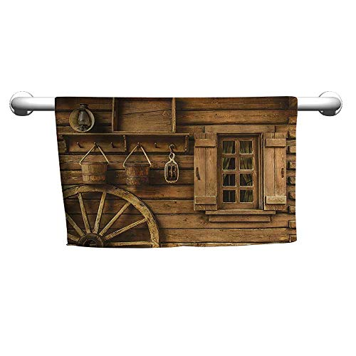 Andasrew Cute Hand Towels Western Decor Collection,Ancient Wagon Wheel Rustic Wooden Vintage Lantern Window and Buckets Picture,Khaki,2,Beach Towel for Toddler