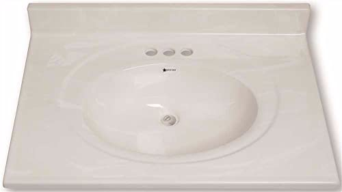 Premier 112004 Premier Vanity Top, Cultured Marble, White Swirl, 49 x 22 – 112004