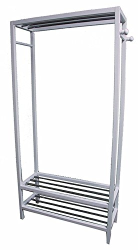 Generic '' White Fini 65''X31.5''X13'' r 65''X31.5'' Rack Coat Hanger ack Coat H Wooden 2 Tier Shoe rment White Finish elves Garme Shelves Garment by Generic