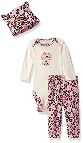 Gerber Baby Girls 3 Piece Set – Bodysuit, Cap and Pant