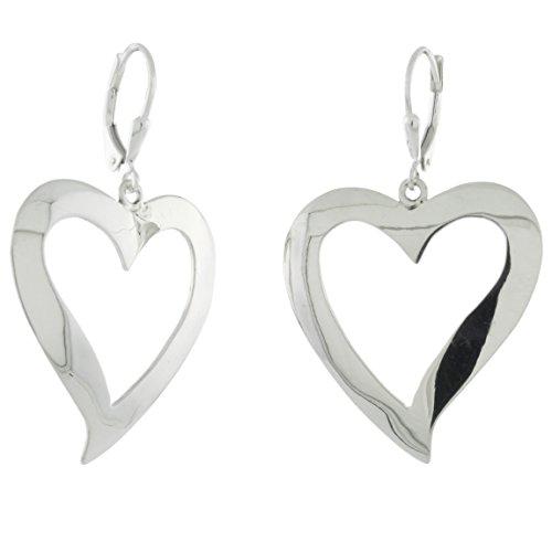 Sterling Silver Handmade Cut-out Leverback Earrings, Heart