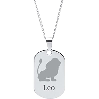 Amazoncom Stainless Steel Personalized Leo Zodiac Sign Pendant
