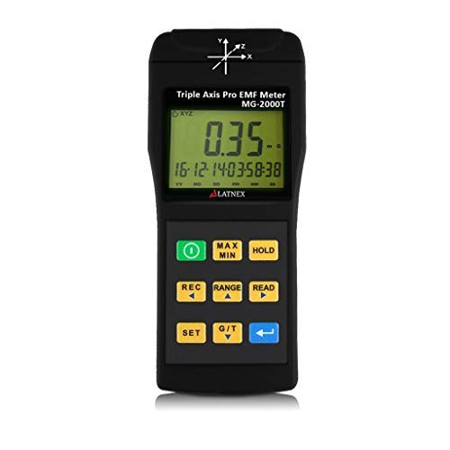 EMI Magnetic field gauss Meter detector MG-2000T Triple Axis Professional use with Datalogger EMI from MRI Machines Industrial and Medical Equipment Power Lines and Appliances EMF inspections ()
