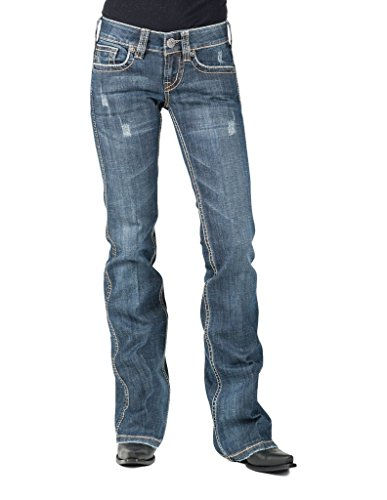 (Stetson Lasso Loop Deco Back Pocket Ladies Jean- 816 Fit (14W x rL) 11-054-0816-0730BU Blue)