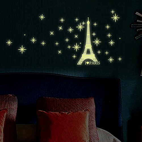 Wall Stickers for Kids - Glow in The Dark Wall Stickers Decal Baby Kids Bedroom Home Decor Color Stars Luminous Fluorescent Wall Stickers Decal - Kids Wall Stickers (Eiffel Tower)