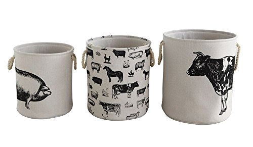 Creative Co-op Canvas Hamper Baskets Set with Farm Animals by Creative Co-op