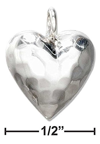 (STERLING SILVER HAMMERED PUFFED HEART CHARM)