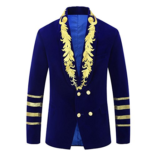 PYJTRL Mens Military Style Embroidery Velvet Blazer Suit Jacket (Blue, Tag XL/US (Military Style Blazer)