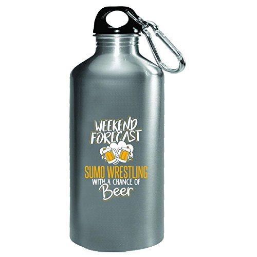 Gift For Sumo Wrestling Beer Lovers Weekend Forecast Present - Water Bottle by My Family Tee