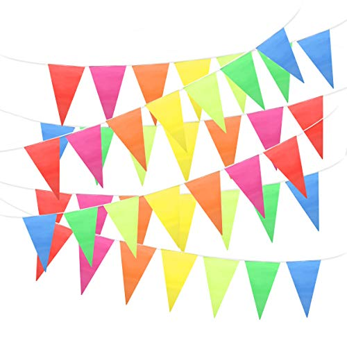 Unomor 260Feet Multicolor Pennant Banner Bunting Flags For Party Decorations, Birthdays, Festivals Decorations -