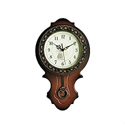 New World Voyage Simulated Wood Pendulum Wall Clock, Quartz, ABS Glass Front Cover, Plastic Main Structure, Antiquity European Style, Brushed Metallic Gold Paint Surface Texture on the Perimeter
