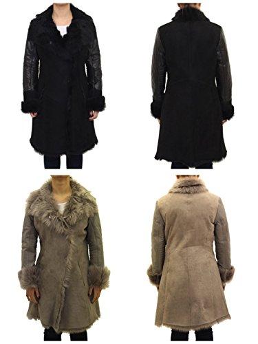 Abrigo Negro Con Reversible Y Damas Cuero Grande Mangas Oveja Cuello Piel De YO1dqO