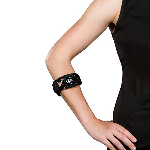 DonJoy Performance WEBTECH Tennis Elbow Strap, Tennis Elbow and Golfer's Elbow, Tendonitis Pain Relief Compression Support Brace - Large/X-Large - Black