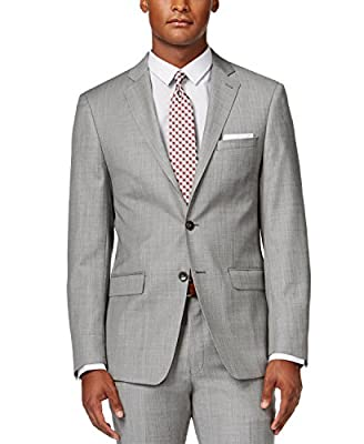 Calvin Klein Mens Extra Slim Fit Light Grey Suit 2 Button 100% Wool FY0459 Light Gray