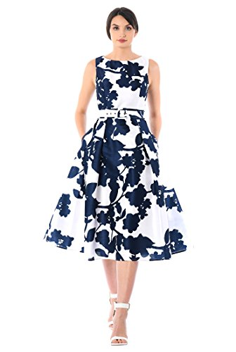 eShakti Women's Floral Print Dupioni Belted Dress L-14 Regular White/deep Navy
