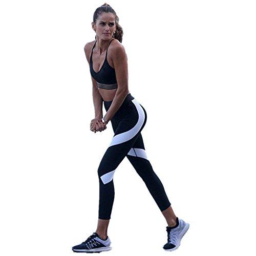 Price comparison product image Women Fitness Trouser, Challyhope Sexy Splice Yoga Skinny Leggings Sports Crop Pants (L, Black)