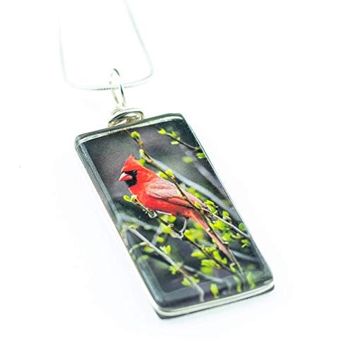 Cardinal Bird Necklace, Handmade Glass Pendant on 18