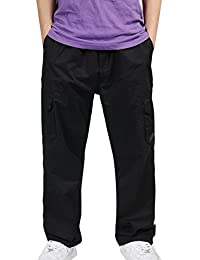 Panegy Mens Tall and Big Cotton Multi Pockets Loose-fit Cargo Work Pants