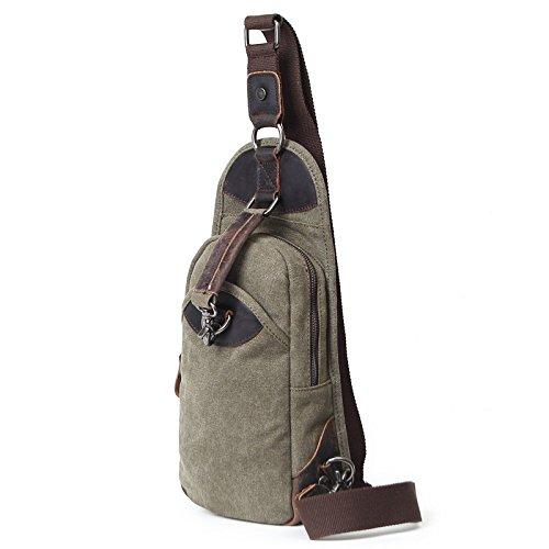 mefly Hombres del pecho bolsa de lona de viaje de piel transpirable Retro único Cruz oblicua hombro bolsa, Army green Army green