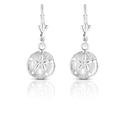 Unique Royal Jewelry 925 Solid Sterling Silver Sand Dollar French-Wire-Clip Drop Dangling Designer Earrings. (Rhodium-Plated Sterling Silver)