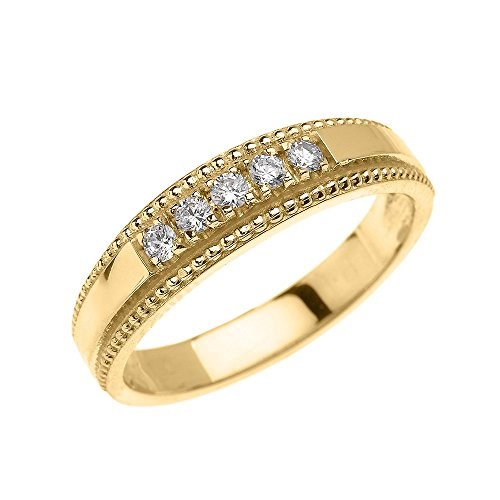 14k Yellow Gold Elegant Diamond Wedding Band Ring For Him (Size (Elegant Diamond Wedding Bands)