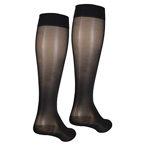 NuVein Sheer Compression Stockings Fashion Silky Sheen Denier Knee High, Black, XXX-Large