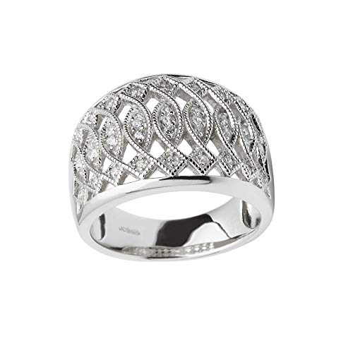 Celtic Ring for Women Twist Design Sterling Silver & CZ Sparkle Made in Ireland Sz 7