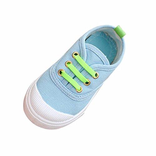 Chshe 2-6.5 Jahre Säugling Sneaker, Winter Baby Jungen Mädchen Süssigkeiten Farben Anti-Rutsch Schnüren Sohle Gummi Obere Segeltuch Schuhe Hellblau