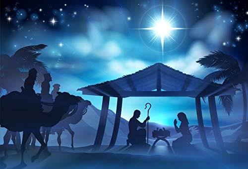 Baocicco Vinyl 7x5ft Backdrop Jesus Christ Theme Photography Background Nativity Birth of Jesus Twinkle Stars Desert Coconut Tree Holy Lights Portraits for Children Baby Photo Studio (Nativity Backdrop)