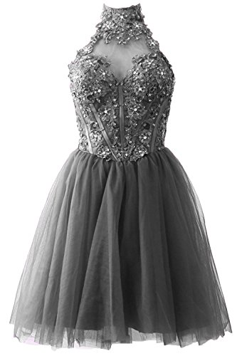 MACloth Women's High Neck Short Lace Homecoming Prom Dress Formal Party Gown Gris