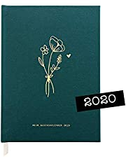 "Odernichtoderdoch Kalender""Wild Flowers"" - dunkelgrüner Glückskalender 2020, 13,5 cm x 18,5 cm"