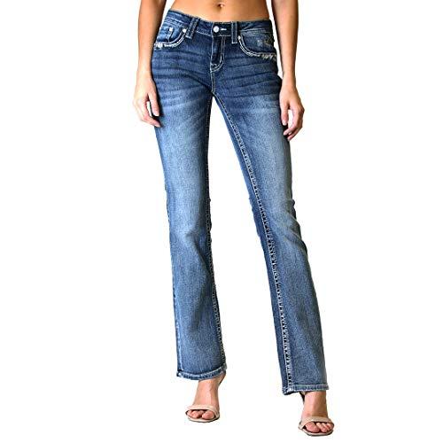 Grace in LA Women's Western Embellished Junior Fit Bootcut Jeans | JB-61290 - Size 27 Blue