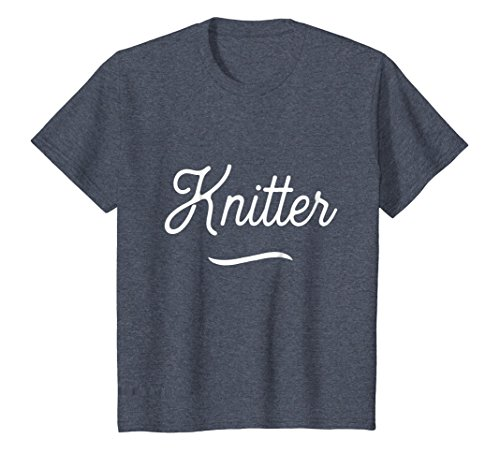 Kids Vintage Knitting T Shirts. Best Gag Joke Gifts for Knitters. 10 Heather Blue