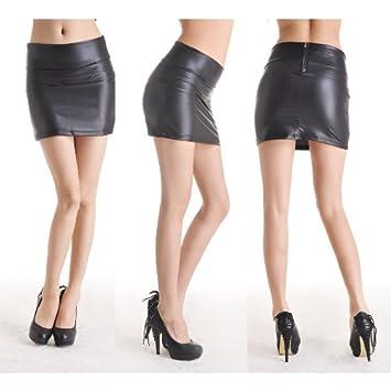 Gleader Mujeres Sexy Mini Falda Negro Piel sintética elástico ...