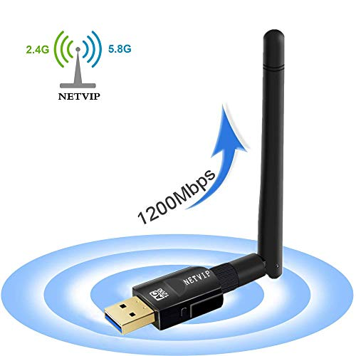 1200Mbps Wireless WiFi Adapter, USB 3.0 Dual Band 5.8GHz/867Mbps+2.4GHz/300Mbps WiFi Dongle with High Gain Antenna for Desktop/PC/Laptop, Support Windows 2000/XP/Vista/7/8/10 Linux Mac OS NETVIP by NETVIP