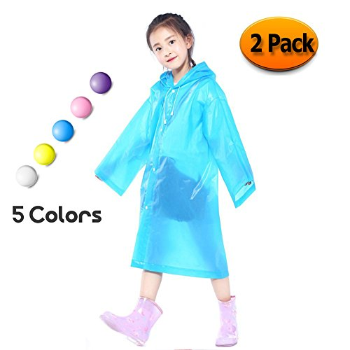 Kids Children Toddler Rain Poncho Packable PVC Lightweight Girls Boys Raincoat with Hoods and Sleeves Perfect for Camping,Traveling and Outdoor Activities Blue(2 Pack)