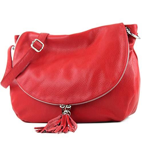 Modamoda De -.   Ital Sac à main en cuir pour femme moyen grand sac à main T40 Rot / leder