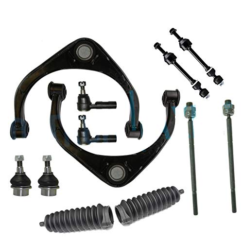 Detroit Axle - 12PC Front Upper Control Arms w/Ball Joints, Sway Bar Links, Inner Outer Tie Rods and Rack Boots for 2009 2010 2011 2012 Dodge Ram 1500 2WD