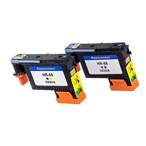 Color Pro K550 Officejet (LKB HP88 Printhead 2PK C9381A C9382A Remanufactured Compatible for HP Officejet with Pro K5300 K550 K8600 L7380、L7480 Printer (1BY, 1MC)-US-HR88B)
